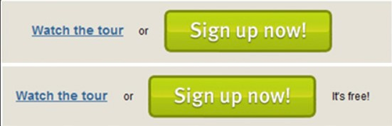 サインアップボタンの横に「無料」を入れた例